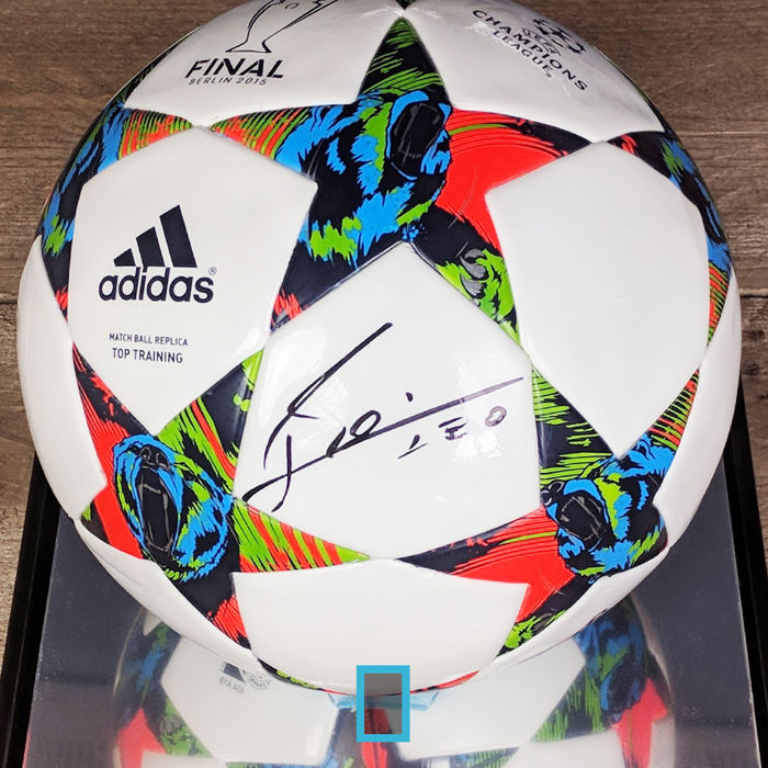 Lionel Messi signed Adidas football in display case + official COA and photo proof
