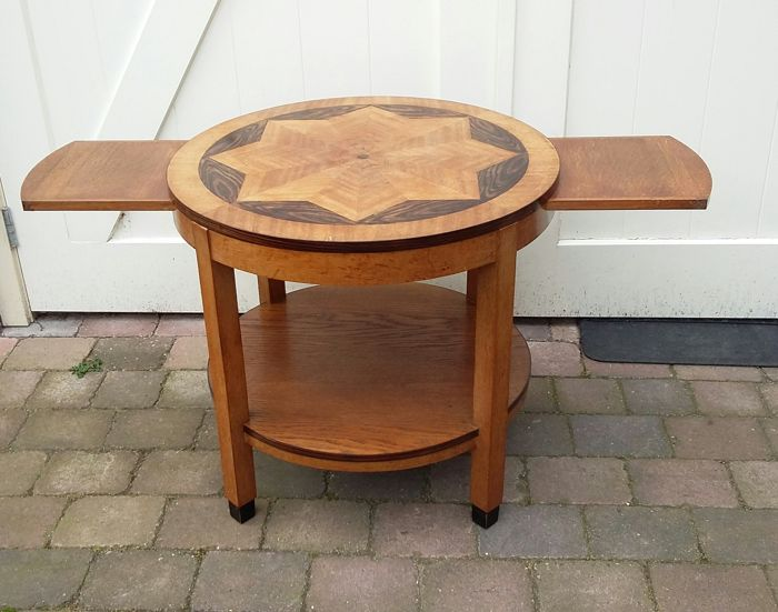 Amsterdam School Coffee Table With 2 Pull Out Leaves