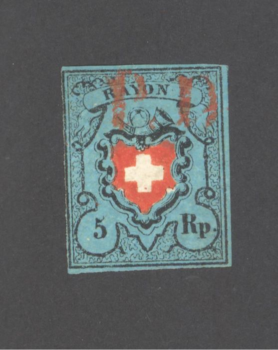 Switzerland 1850 – Rayon I 5Rp. black/red/blue stone A2-0- signed + Berra certificate – Zumstein 15II.F