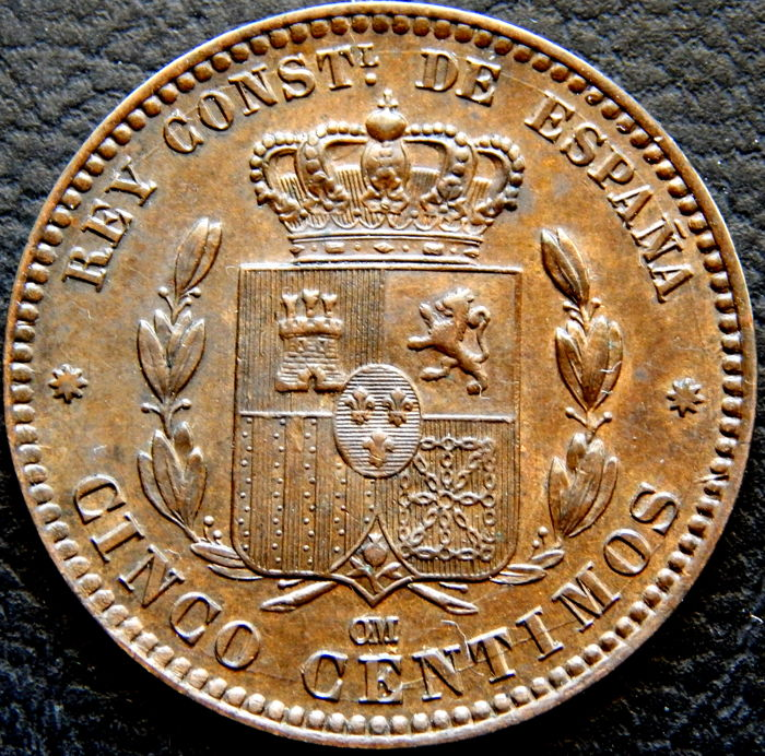 Spain - Alfonso XII - 5 cents from the year 1878 - Barcelona OM