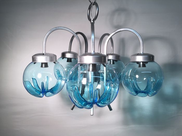 Murano (Unattributed) - suspended chandelier with 5 light blue spheres