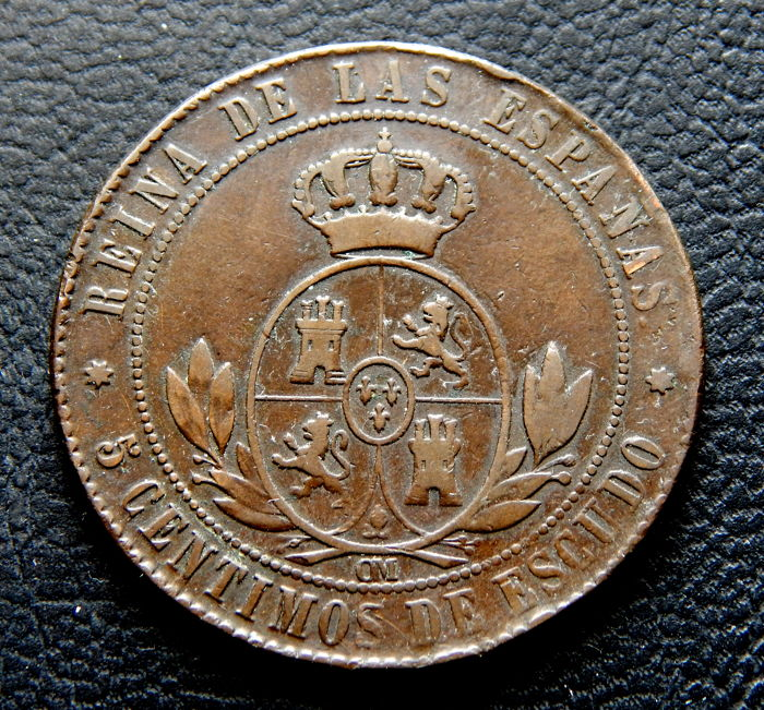 Spain - Isabel II - 5 Centimos of Escudo 1867 OM mint of Seville