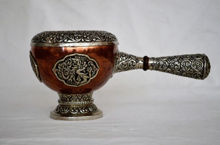 Tibetan temple shrine copper and silver plated incense burner - Nepal - 2nd half 20th century