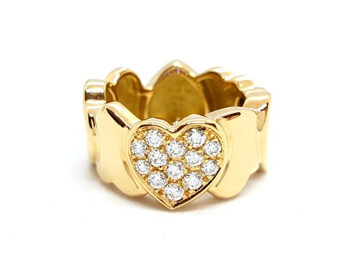 Fred – Heart Band Ring – 18 kt yellow gold – Diamonds 0.26 ct G-VS – Size 48