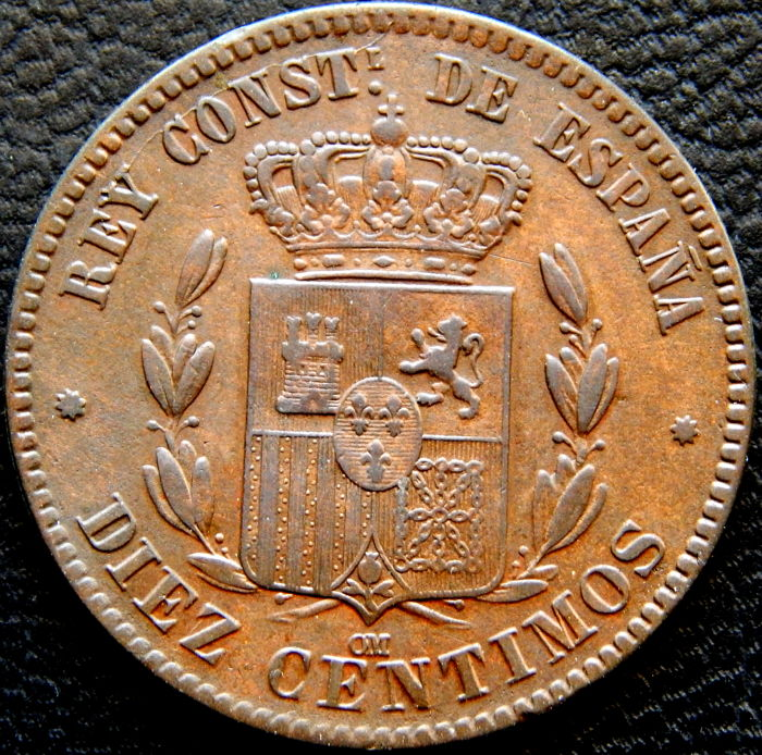 Spain - Alfonso XII - 10 Centimos year 1877 - Barcelona OM