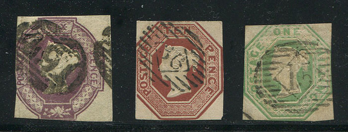 Great Britain 1847–54 Queen Victoria - series Embossed complete, Stanley Gibbons 55, 57 and 59