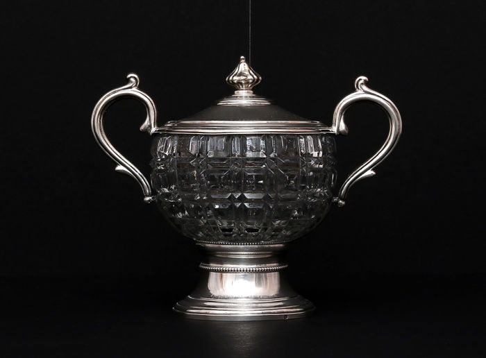 Cut glass -Silver sugar bowl,   -France,   -19th/20th c.