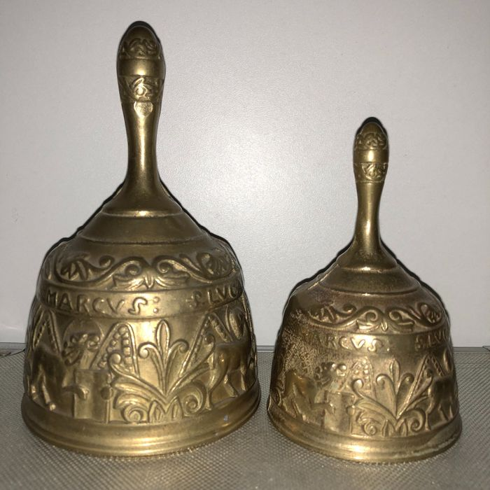 two antique bronze monastery bells table bells with names st