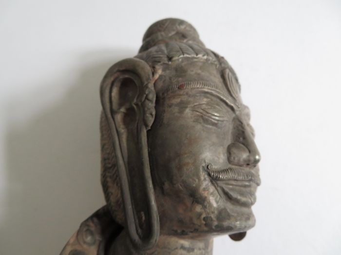 A very rare Cham silver Lord Shiva head - published - 170 mm