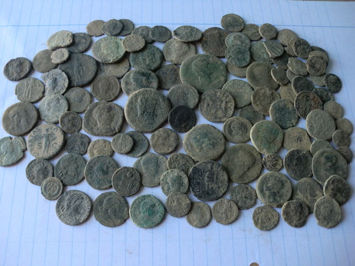 Roman Empire - lot of 107 uncleaned Roman coins (ases