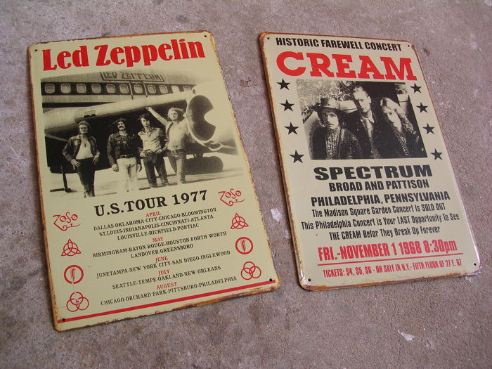 Led Zeppelin And Cream Classic Metal Concert Signs
