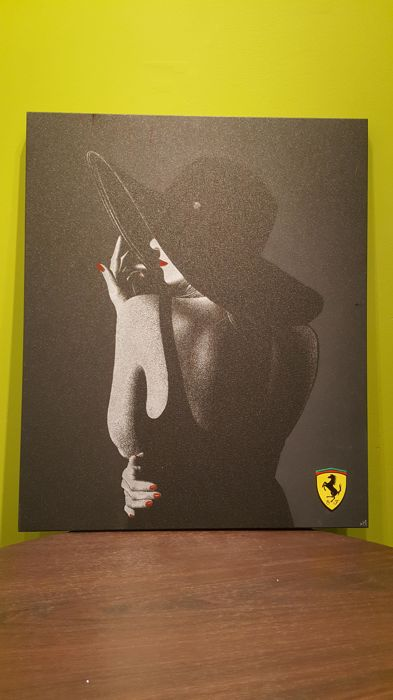 "Inspiration on the theme: ""Scuderia woman"" - FERRARI. Image printed on aluminum - method: spray nozzles. Model. - Monika Wanda / Poland."