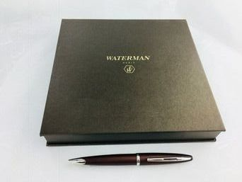 Waterman Carene Satin Brown ballpoint pen in deluxe box with case