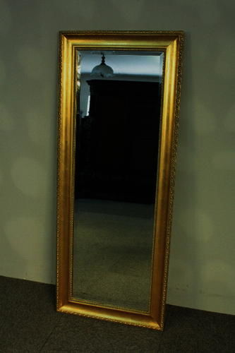 Beautiful, large mirror in a golden, classical, wooden frame - hand-made - 135 x 55 cm