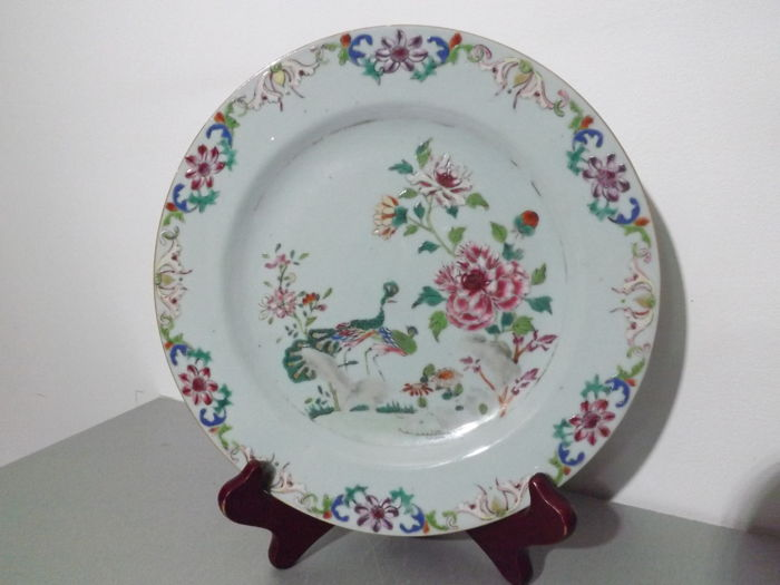 Famille rose dish with two peacocks decoration - China - 18th century