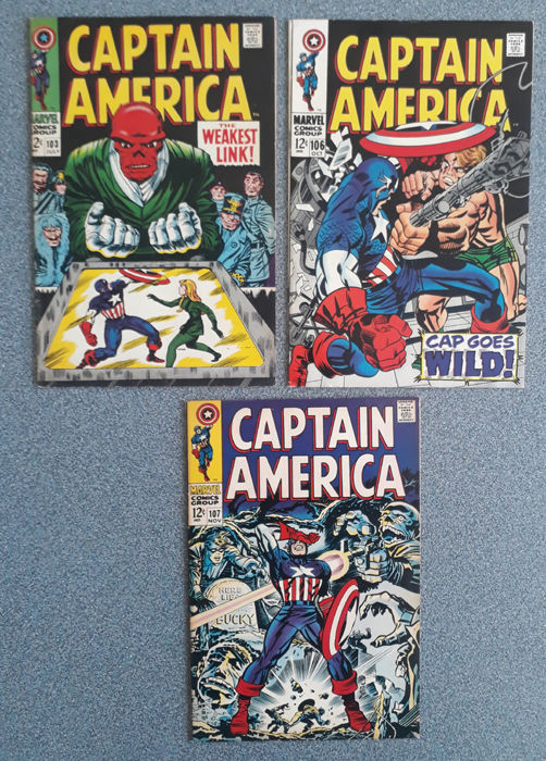 Marvel Silver Age Captain America #103, #106 and #107  (1968)
