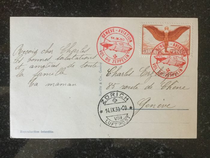 Switzerland 1890/1930 - 4 Switzerland postal items and 1 airmail letter - Zeppelin