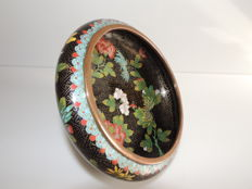 Bowl in Cloisonne Enamel - Black Background - China - 1st Half 20th Century