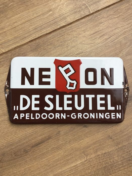 "Enamel advertising sign NEON ""De Sleutel"" - ca 1950s/60s"