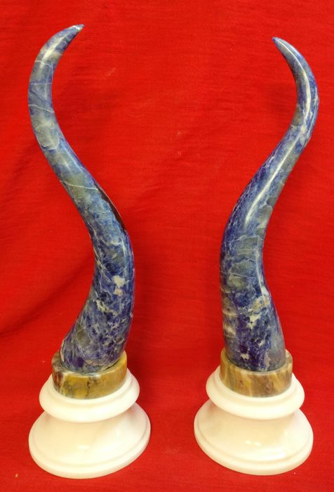 Pair of horns in Lapis lazuli with a base both in Carrara marble and in Yellow Siena marble - Italy, Venice - 20th century