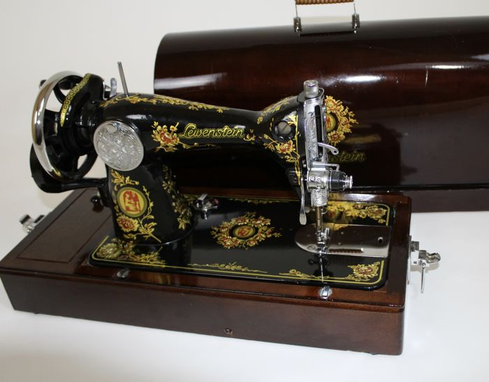 Beautiful Lewenstein sewing machine with nostalgic decorations, the Netherlands, 2nd half 20th century