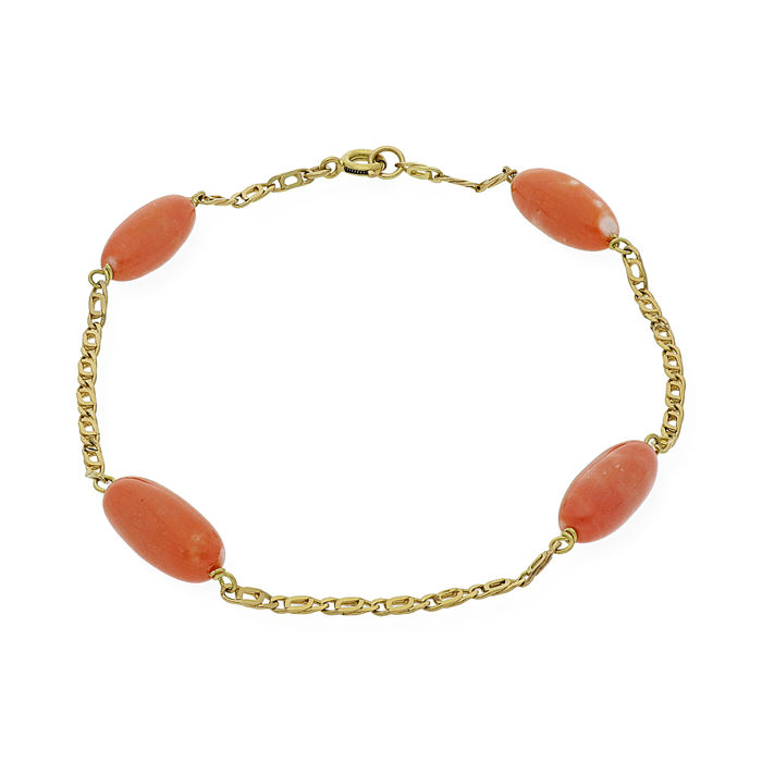 Yellow gold 18 kt - Bracelet - Natural Pacific coral - Length: 19 cm