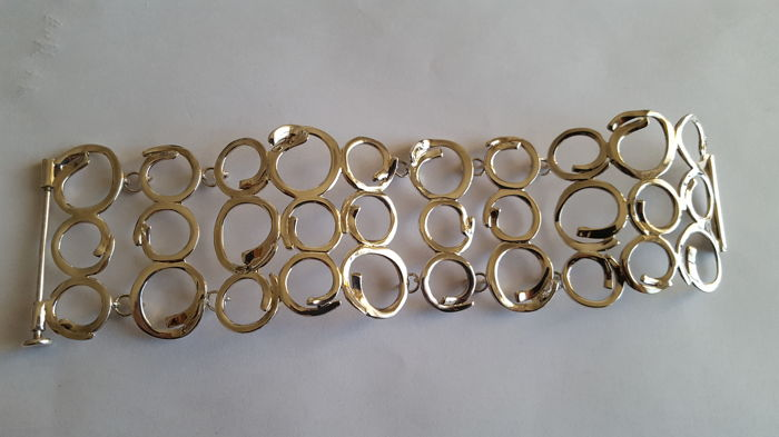 Modern bracelet in 925 solid silver - Length 18.5 cm - Width 5 cm - Weight 51 g - No reserve price