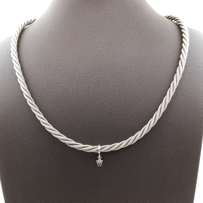 Original Wellendorf Comtesse necklace with diamond W - Length: 42 cm