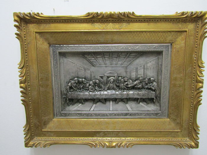 """Last Supper"", silver-plated bas-relief after Leonardo da Vinci"