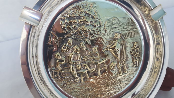 German ashtray -silver plated with relief scene