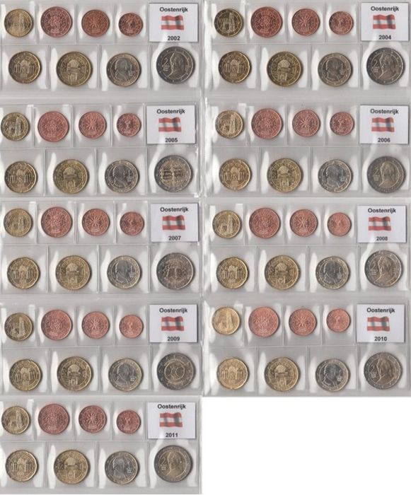 Austria - Year packs Euro coins 2002 and 2004 through 2011, complete