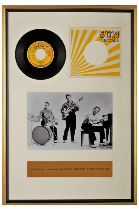 """Jerry Lee Lewis Framed and signed """"45 RPM - Breathless"""