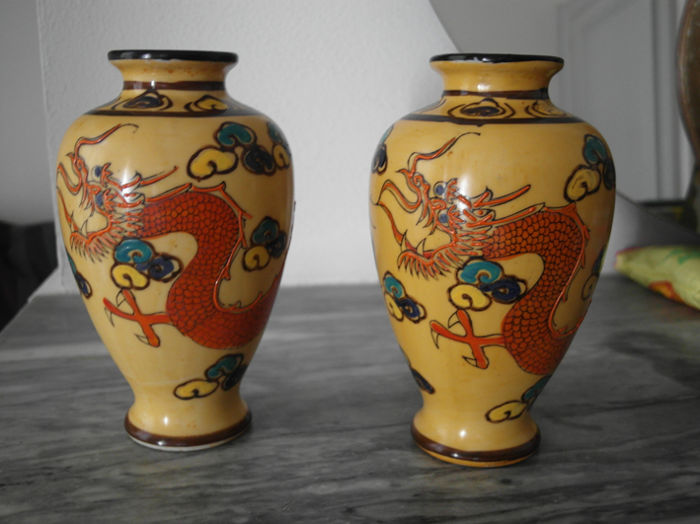 Pair Of Japanese Vases In Porcelain Japan First Half 20th