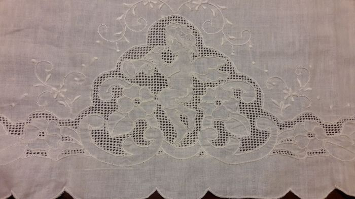 Antique hand embroidered linen towel