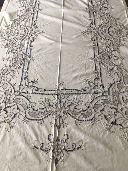 Sophisticated impressive rectangular tablecloth with cutwork and mesh embroidery