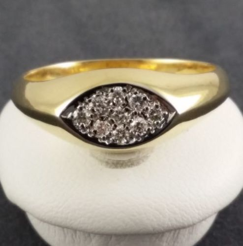 Brilliant ring - 585 yellow gold - size 58 - 9 diamonds of 0.14 ct in total