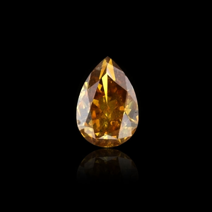2.19 ct. Natural Fancy Deep Brownish Orangy Yellow Pear Shape Diamond, GIA Certified,