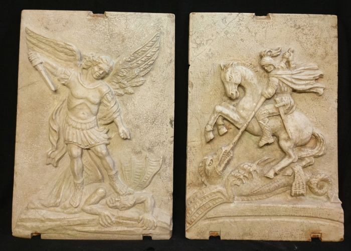 St. Michael and St. George in Rubbio marble - altarpieces - Ferrara, Italy - 20th/21st century