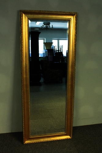 Very large mirror in a solid, classical, wooden frame - hand-made - length: 135 cm