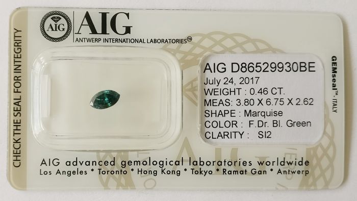 0.46 ct Marquise Fancy Dark Bluish Green SI2 *** No Reserve ***