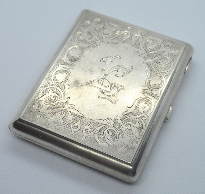 Silver Cigarette Case with monogram, Russia, after 1958