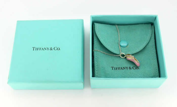 Tiffany & Co - Silver necklace & enamel ballet slipper charm with diamond (0.01 ct) c.2000