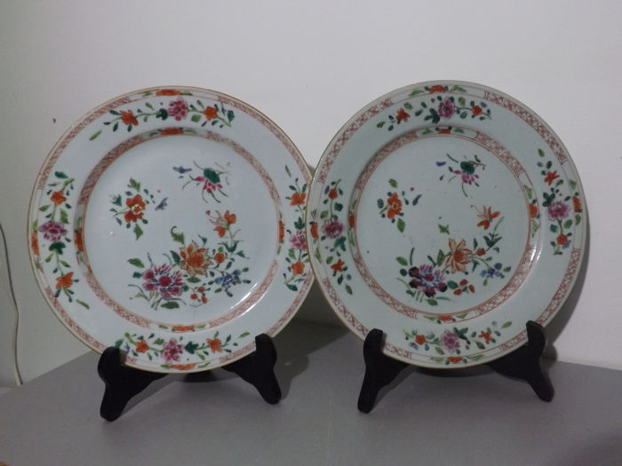 Pair of Famille rose plates - China - 18th century