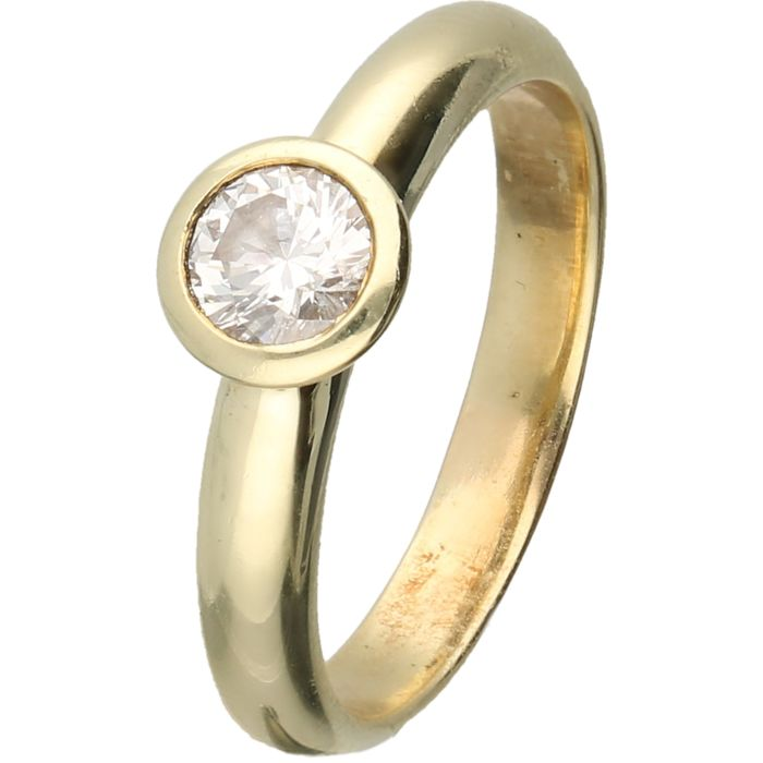 14 kt Yellow gold solitaire ring set with a brilliant cut diamond of approx. 0.50 ct in total - Ring size: 18.5 mm