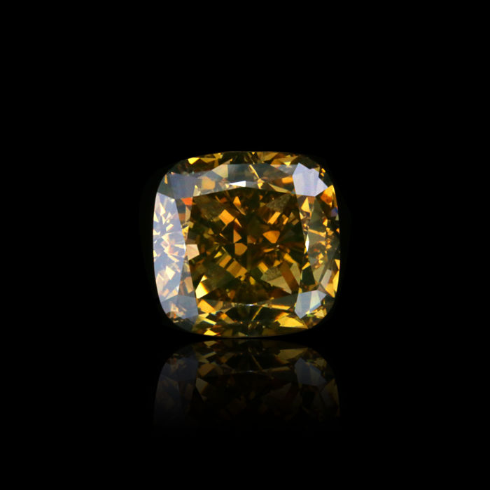 4.03 Ct. Natural Fancy Dark Yellowish Brown Cushion Shape VS2 Diamond. GIA certified