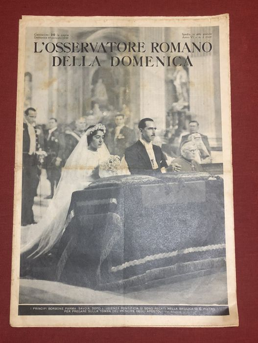 The princes Borbone Parma-Savoia in hearing with the Pope Pius XII - L' Osservatore Romano - 1939 - original