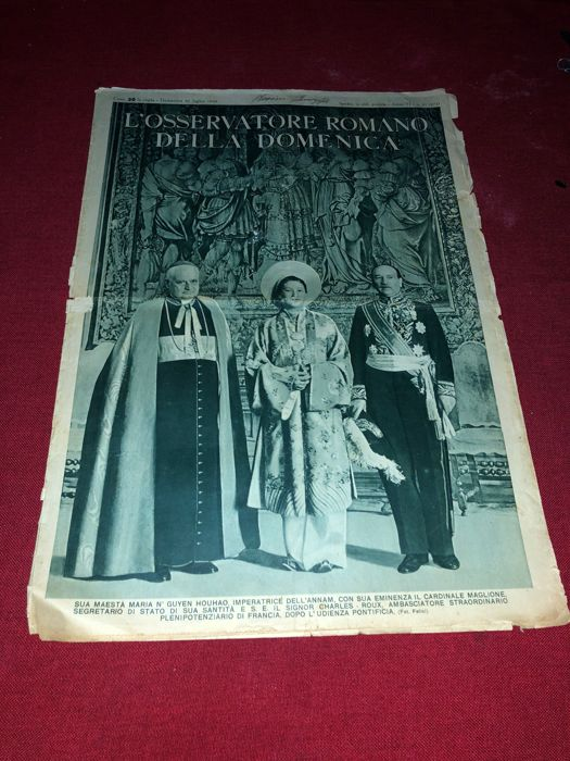 His majesty the empress of Annam (Vietnam) in a hearing with the Pope Pius XII - L' Osservatore Romano - 1939 - original