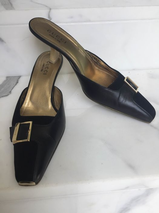 Gucci - Mules leather/gold