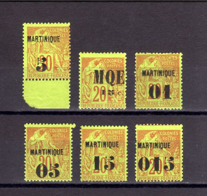 Martinique, French colonies 1886/1891 - Yvert nº 1, 2, 3, 4, 5 and 6
