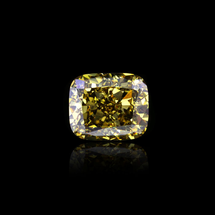 3.32 Ct. Natural Deep Brown-yellow Cushion Shape VS2 Diamond. GIA certified